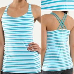 Lululemon Free to Be blue white striped tank